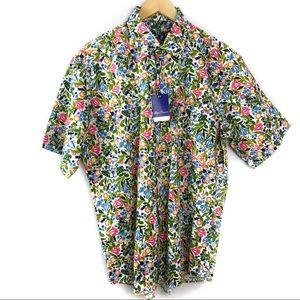Alan Flusser Floral Button Down Short Sleeve Top